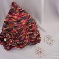 Baby Mütze - Erstlingsmütze,  gestrickt, mit Zipfel,  Farbe beerefarben bunt meliert Bild 1