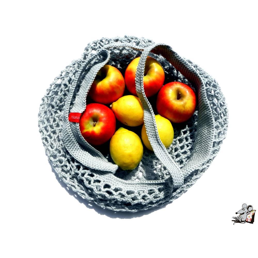 Einkaufsnetz *swirl* Markttasche Einkaufsbeutel Strandtasche *Zero Waste* gehäkelt *silber* 100% Baumwolle Bild 1