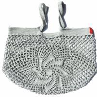 Einkaufsnetz *swirl* Markttasche Einkaufsbeutel Strandtasche *Zero Waste* gehäkelt *silber* 100% Baumwolle Bild 2
