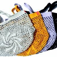 Einkaufsnetz *swirl* Markttasche Einkaufsbeutel Strandtasche *Zero Waste* gehäkelt *silber* 100% Baumwolle Bild 5