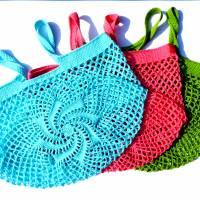 Einkaufsnetz *swirl* Markttasche Einkaufsbeutel Strandtasche *Zero Waste* gehäkelt *silber* 100% Baumwolle Bild 6