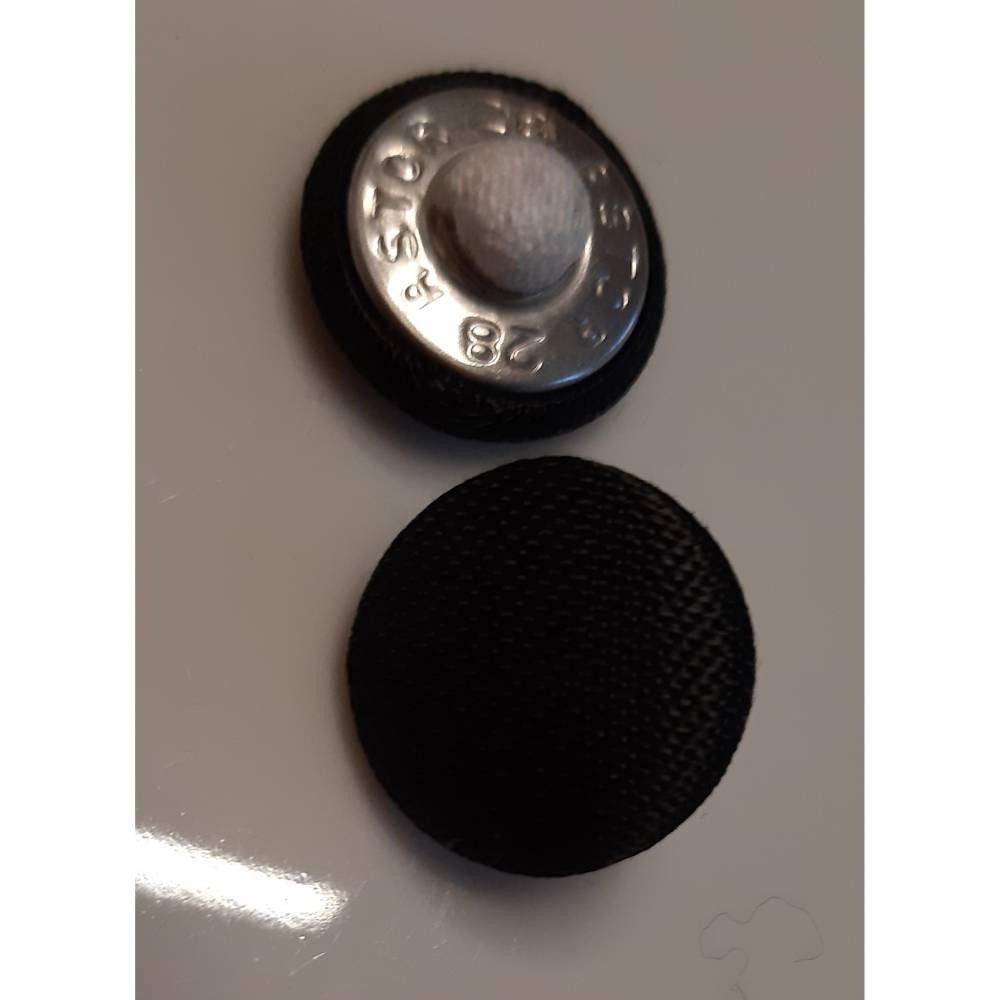 Knopf schwarz  mit Stoff bezogen  18 mm Bild 1