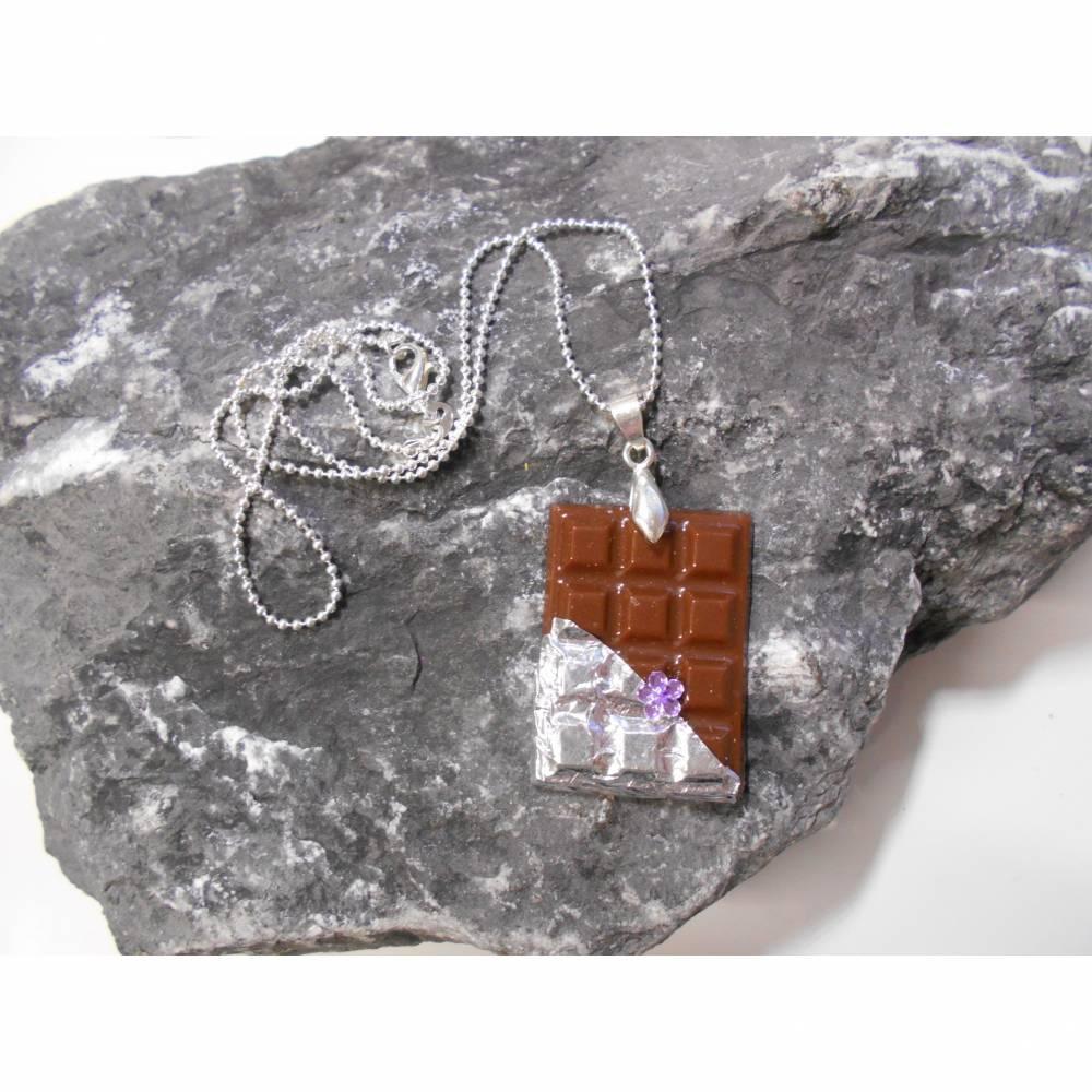 Tafel Schokolade Halskette  925 er Kugelkette kawaii sweet  Bild 1