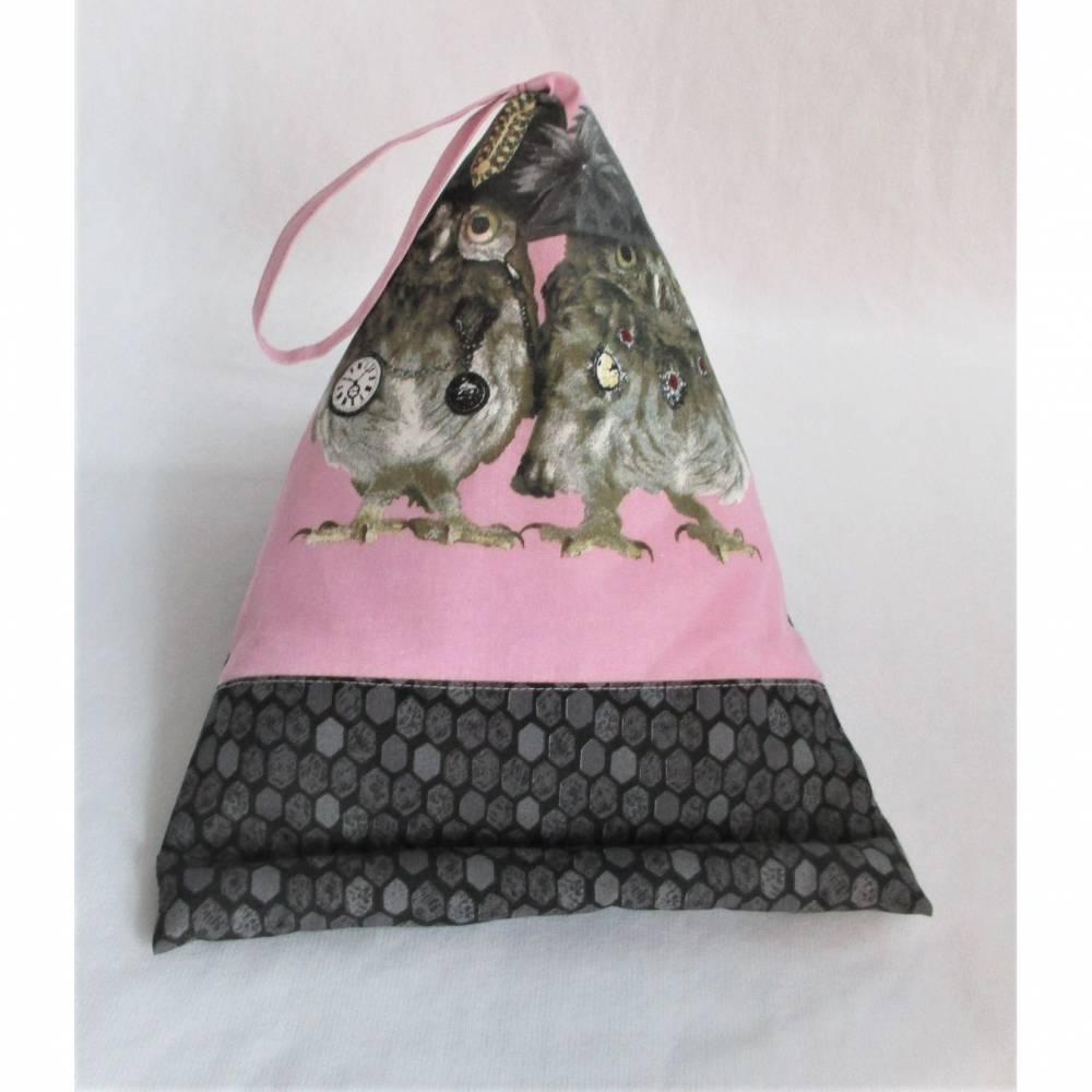 Lesekissen Tabletkissen Eule Rosa Grau Schwarz Pyramide Kissen Lesehilfe Baumwollkissen Bild 1