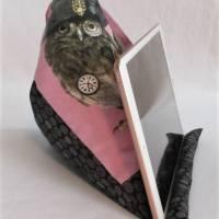Lesekissen Tabletkissen Eule Rosa Grau Schwarz Pyramide Kissen Lesehilfe Baumwollkissen Bild 4