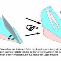 Lesekissen Tabletkissen Eule Rosa Grau Schwarz Pyramide Kissen Lesehilfe Baumwollkissen Bild 6