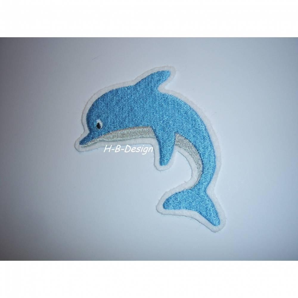 Applikation Delfin auf weißen Filz gestickt Bild 1