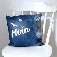 Jeans upcycling Kissenhülle Moin Maritim Bild 3