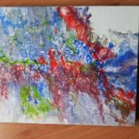 Farbenfrohes Acrylbld in fluid paint Technik Bild 3