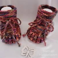 Baby Schuhchen - Stiefelchen, Erstlingsschuhchen, Farbe beerefarben bunt meliert,  Bild 1