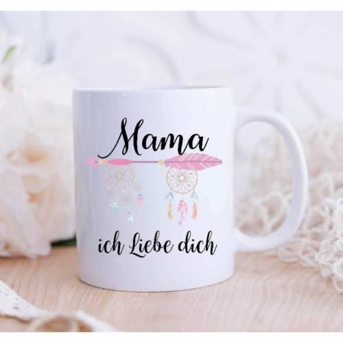 Personalisierte Tasse mit Namen Mama ich liebe Dich