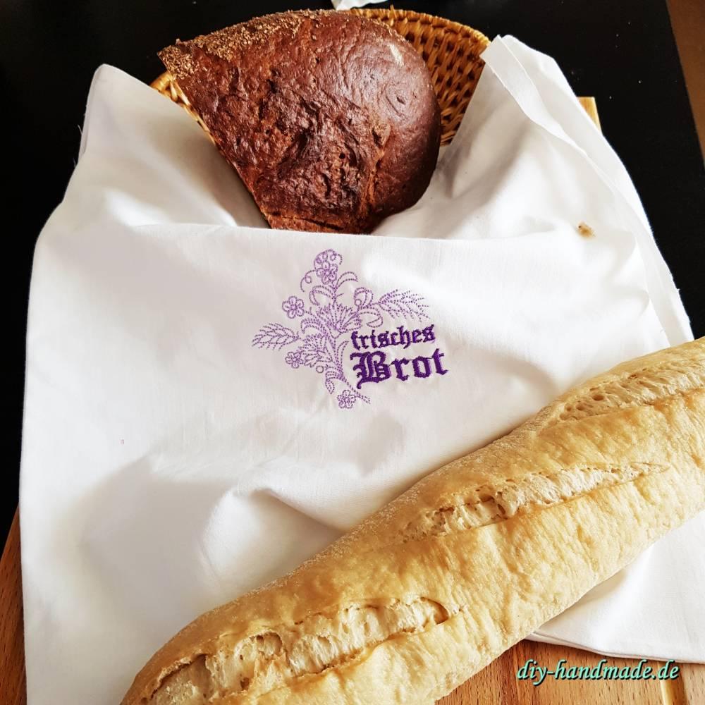 Unikat, Brotbeutel nostalgisch wie bei Oma, Stoffbeutel aus Baumwolle für Brot und Brötchen, 35 x 37  cm,  Bild 1