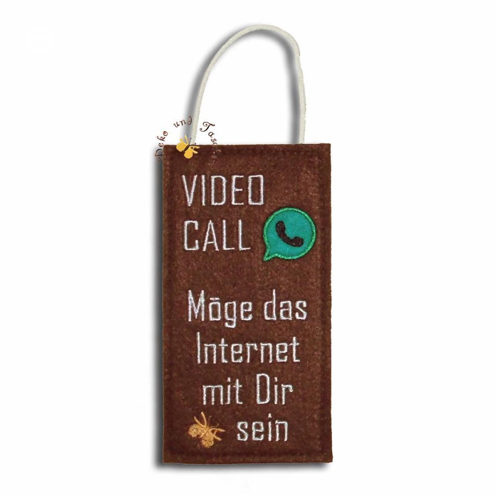 Bestickter Door-Hanger Türschild Türhänger Homeoffice Video Call Möge das Internet mit Dir sein Bild 1