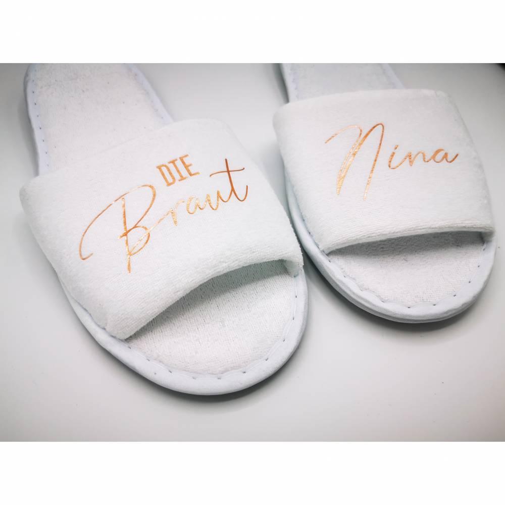 Personalisierte Slipper für JGA oder Getting Ready, Hochzeit Schuhe, Team Braut, Wellness Therme, Hotelschlappen, Jungge Bild 1