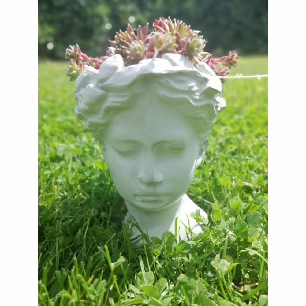 Kopf zum Bepflanzen Betondeko Pflanzkopf Pflanzgefäß Blumentopf Pflanztopf Büste Antikkopf Frauenkopf Blumengefäß Überto Bild 1