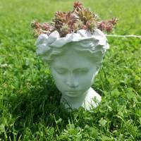 Kopf zum Bepflanzen Betondeko Pflanzkopf Pflanzgefäß Blumentopf Pflanztopf Büste Antikkopf Frauenkopf Blumengefäß Überto Bild 4