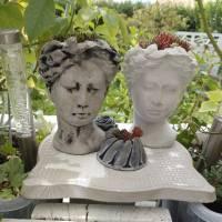 Kopf zum Bepflanzen Betondeko Pflanzkopf Pflanzgefäß Blumentopf Pflanztopf Büste Antikkopf Frauenkopf Blumengefäß Überto Bild 5