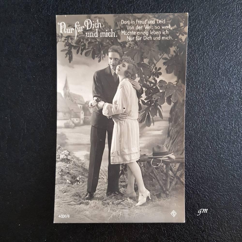"""Postkarte, vintage, Fotokarte, ca. 1920er, Liebe, verliebt, unbeschrieben, """"Nur für Dich und mich."""" Bild 1"""