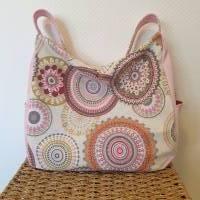 Handtasche / Schultertasche Mandala beige-multicolor-rosa Bild 1