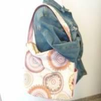 Handtasche / Schultertasche Mandala beige-multicolor-rosa Bild 2