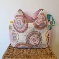 Handtasche / Schultertasche Mandala beige-multicolor-rosa Bild 8