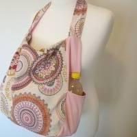 Handtasche / Schultertasche Mandala beige-multicolor-rosa Bild 9