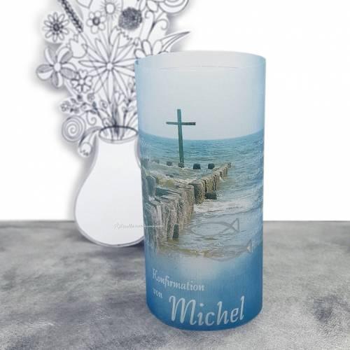 """Lichthülle Konfirmation, Kommunion oder Firmung """"Kreuz im Meer"""" mit individuellem Spruch"""