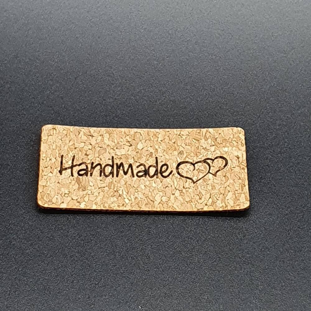 """Korklabel """"Handmade"""" mit Herzen Bild 1"""
