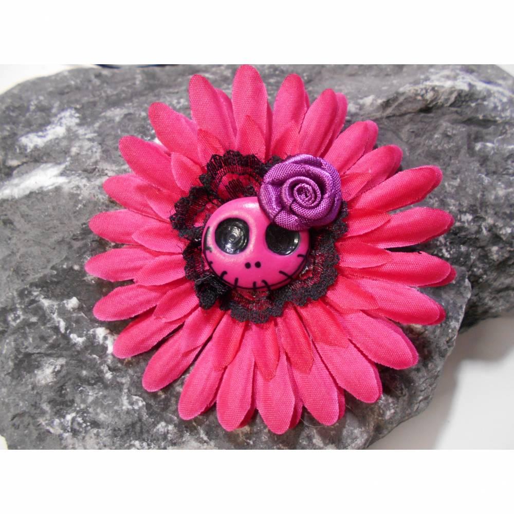 Einzelstück Haarspange Skull  Blume Stoff Totenkopf beere  schwarz  Bild 1