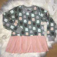 Sweater mit Volant * Gr. 104 * Katzen Bild 6