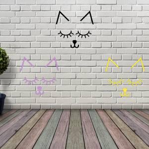 Geschlossene Augen, Wimpern in Katzenform mit Ohren. In 10 verschiedenen Farben erhältlich. Bild 1