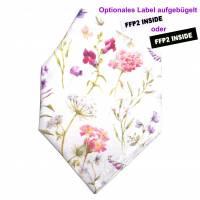 """Überzug für FFP2 Maske """"Gartenblumen"""" - einlagig - 100% Baumwolle - Waschbar - Stoffhülle - Stoffüberzug Bild 1"""