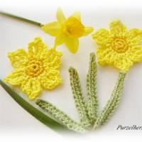 6-teiliges Häkelset: 2 Narzissen mit Blättern - Häkelapplikation,Aufnäher,Tischdeko,Ostern,Frühling,gelb Bild 1