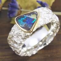 Breiter Ring aus Silber 925/- mit Opal, Zerknittert 8 mm Bild 1