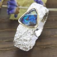 Breiter Ring aus Silber 925/- mit Opal, Zerknittert 8 mm Bild 2