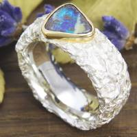 Breiter Ring aus Silber 925/- mit Opal, Zerknittert 8 mm Bild 3