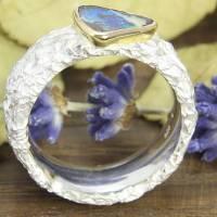 Breiter Ring aus Silber 925/- mit Opal, Zerknittert 8 mm Bild 5