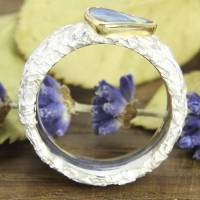 Breiter Ring aus Silber 925/- mit Opal, Zerknittert 8 mm Bild 6