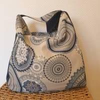 Handtasche / Schultertasche Mandala beige-multicolor-jeansblau Bild 3
