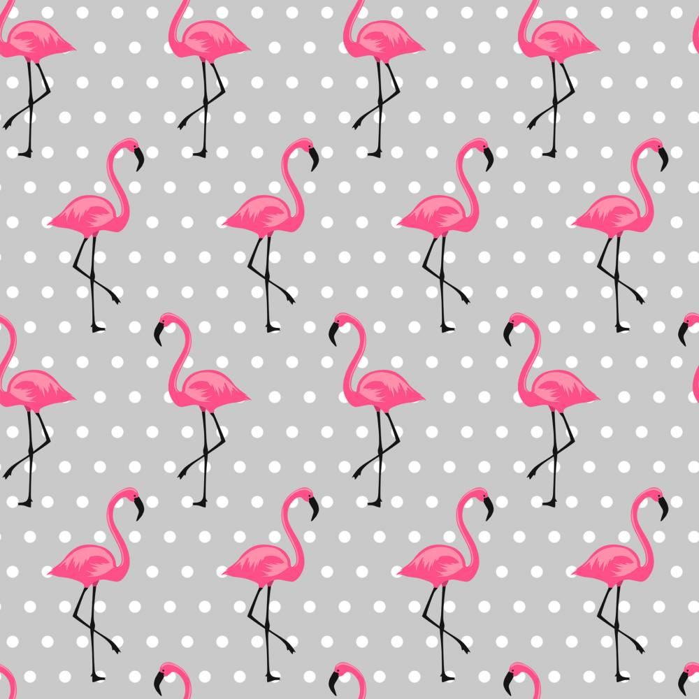 Baumwolle Stoff Meterware grau mit Flamingo pink Bild 1
