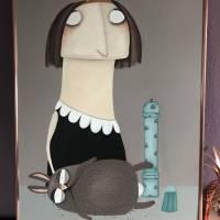 "Acrylbild ""Buma Kasimir mit Franticzek"" Gemälde lacaluna Malerei Portrait Affe Hund Storch Goldrahmen Küchenbild Bild 2"