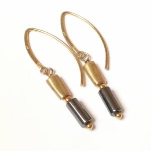 Hämatit Zylinder Ohrringe, lange Ohrringe, Sterling Silber vergoldet Bild 1