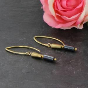 Hämatit Zylinder Ohrringe, lange Ohrringe, Sterling Silber vergoldet Bild 2