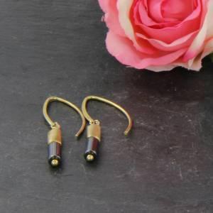 Hämatit Zylinder Ohrringe, lange Ohrringe, Sterling Silber vergoldet Bild 3