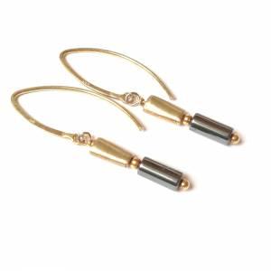 Hämatit Zylinder Ohrringe, lange Ohrringe, Sterling Silber vergoldet Bild 4