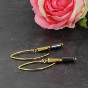 Hämatit Zylinder Ohrringe, lange Ohrringe, Sterling Silber vergoldet Bild 5