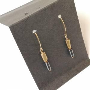 Hämatit Zylinder Ohrringe, lange Ohrringe, Sterling Silber vergoldet Bild 8