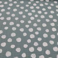 Bio Musselin / Double Gauze Dots auf old green Windelstoff Bild 2