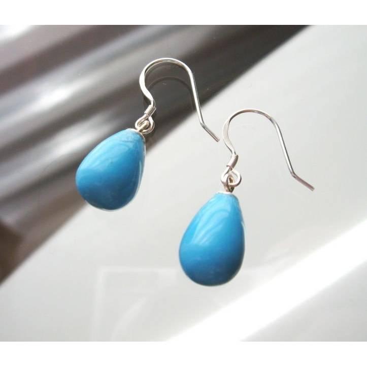 Jade Ohrhänger Silber 925, Blaue Tropfen Ohrringe, Geschenk zum Geburtstag  Edelstein Ohrringe Bild 1