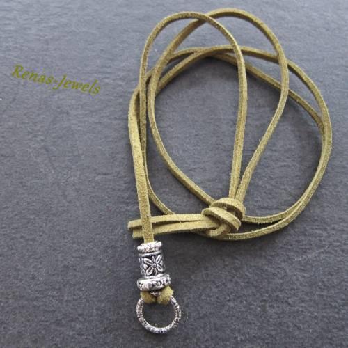 Wechselkette für Anhänger, Charms aus Veloursband mit Ring grün silberfarben Kette lang